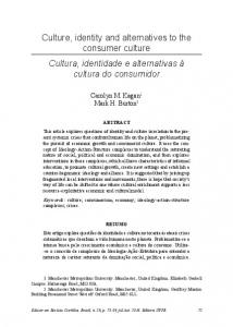 Culture, identity and alternatives to the consumer culture Cultura ...