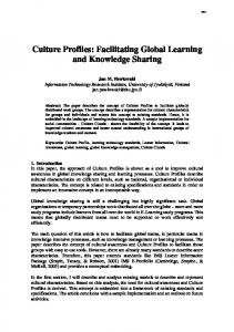 Culture Profiles: Facilitating Global Learning and ... - CiteSeerX
