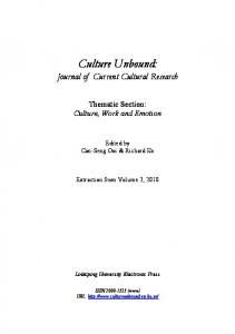 Culture Unbound: Journal of Current Cultural Research: Thematic