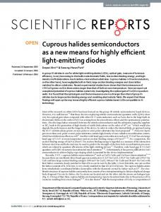 Cuprous halides semiconductors as a new means