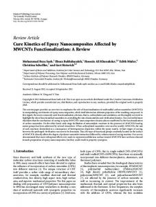 Cure Kinetics of Epoxy Nanocomposites Affected by MWCNTs ...
