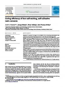 Curing efficiency of four self-etching, self-adhesive resin cements