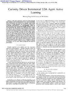 Curiosity Driven Incremental LDA Agent Active Learning