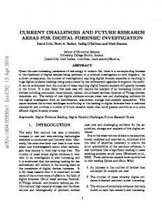 Current Challenges and Future Research Areas for Digital Forensic ...