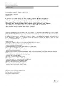 Current controversies in the management of breast ... - Springer Link