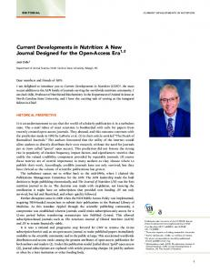 Current Developments in Nutrition: A New Journal Designed for the ...