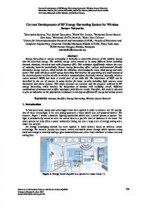 Current Developments of RF Energy Harvesting System for Wireless ...