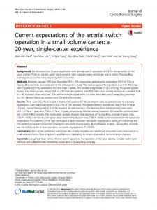 Current expectations of the arterial switch operation in a small volume ...