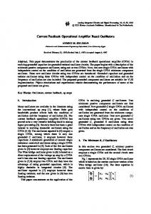 Current Feedback Operational Amplifier Based ... - Springer Link