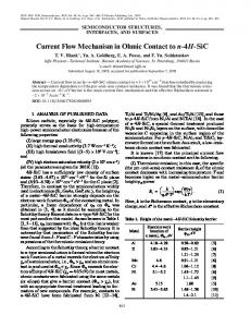 Current Flow Mechanism in Ohmic Contact to n 4H SiC - Springer Link