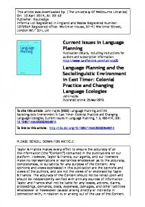 Current Issues in Language Planning Language Planning and the