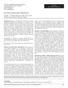 Current Literature Summary - Journal of Athletic Training