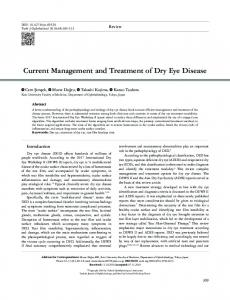 Current Management and Treatment of Dry Eye Disease