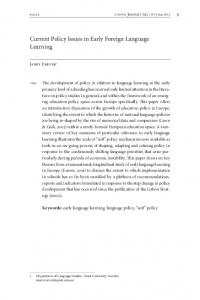 Current Policy Issues in Early Foreign Language Learning