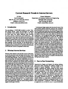 Current Research Trends in Internet Servers - CiteSeerX