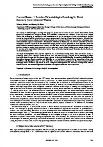 Current Research Trends of Microbiological Leaching for Metal ...