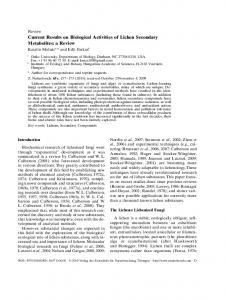Current Results on Biological Activities of Lichen Secondary Metabolites
