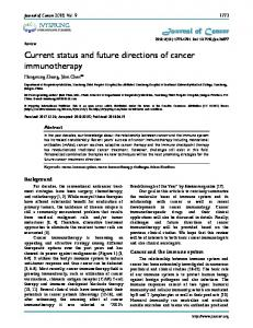 Current status and future directions of cancer ... - Journal of Cancer