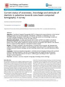 Current status of awareness, knowledge and attitude of dentists in ...
