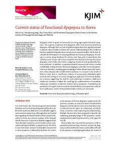 Current status of functional dyspepsia in Korea - The Korean Journal ...