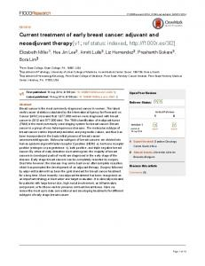 Current treatment of early breast cancer: adjuvant and neoadjuvant ...
