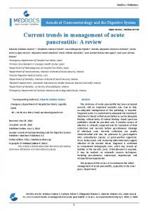 Current trends in management of acute pancreatitis, A ...