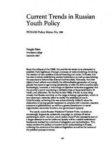 Current Trends in Russian Youth Policy