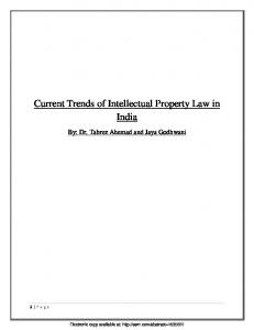 Current Trends of Intellectual Property Law in India
