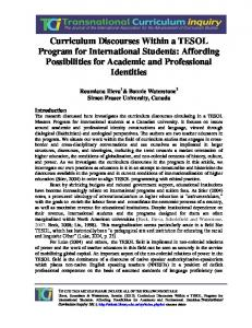 Curriculum Discourses Within a TESOL Program for ... - UBC Library