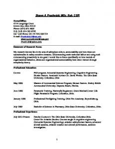 Curriculum Vitae - Human Factors Research and Technology Division