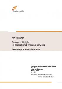 Customer Delight in Recreational Training Services - Theseus