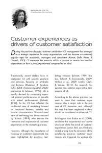 Customer experiences as drivers of customer