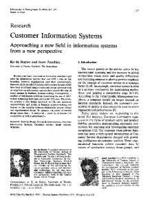 Customer information systems: Approaching a new field in information ...