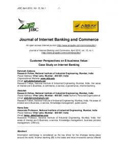 Customer Perspectives on E-business Value: Case Study on Internet ...