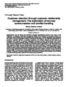 Customer retention through customer ... - Academic Journals