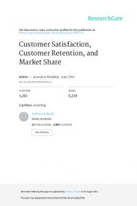 Customer Satisfaction, Customer Retention, and Market Share