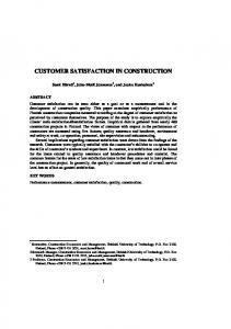 CUSTOMER SATISFACTION IN CONSTRUCTION