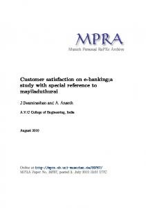 Customer satisfaction on e-banking - Munich Personal RePEc Archive