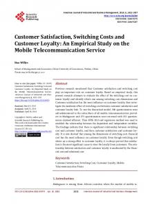 Customer Satisfaction, Switching Costs and Customer Loyalty: An ...