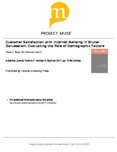 Customer Satisfaction with Internet Banking in Brunei ...