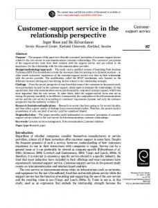 Customer-support service in the relationship perspective - I & H Roos