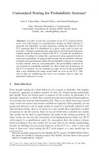 Customized Testing for Probabilistic Systems