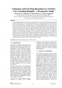 Cutaneous Adverse Drug Reactions in a Tertiary Care Teaching