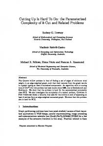 Cutting Up Is Hard To Do: the Parameterized Complexity ... - CiteSeerX