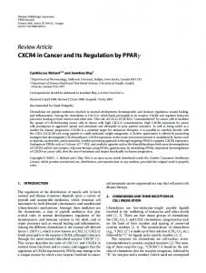 CXCR4 in Cancer and Its Regulation by PPAR - Semantic Scholar
