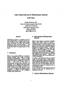 Cyber-Physical Security for Wireless Sensor Networks - Center For ...