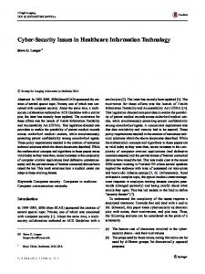 Cyber-Security Issues in Healthcare Information