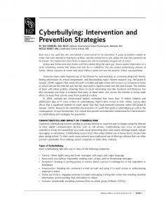 Cyberbullying: Intervention and Prevention Strategies