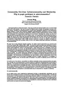 Cybercommunity and Modernity Why do people ...