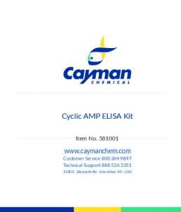 Cyclic AMP EIA Kit - Cayman Chemical